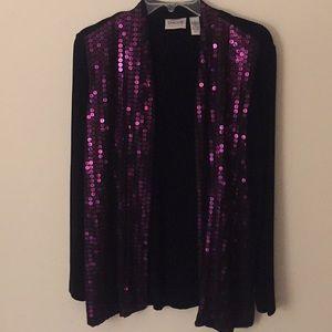 Chico's Black & Purple Jacket - Size 1